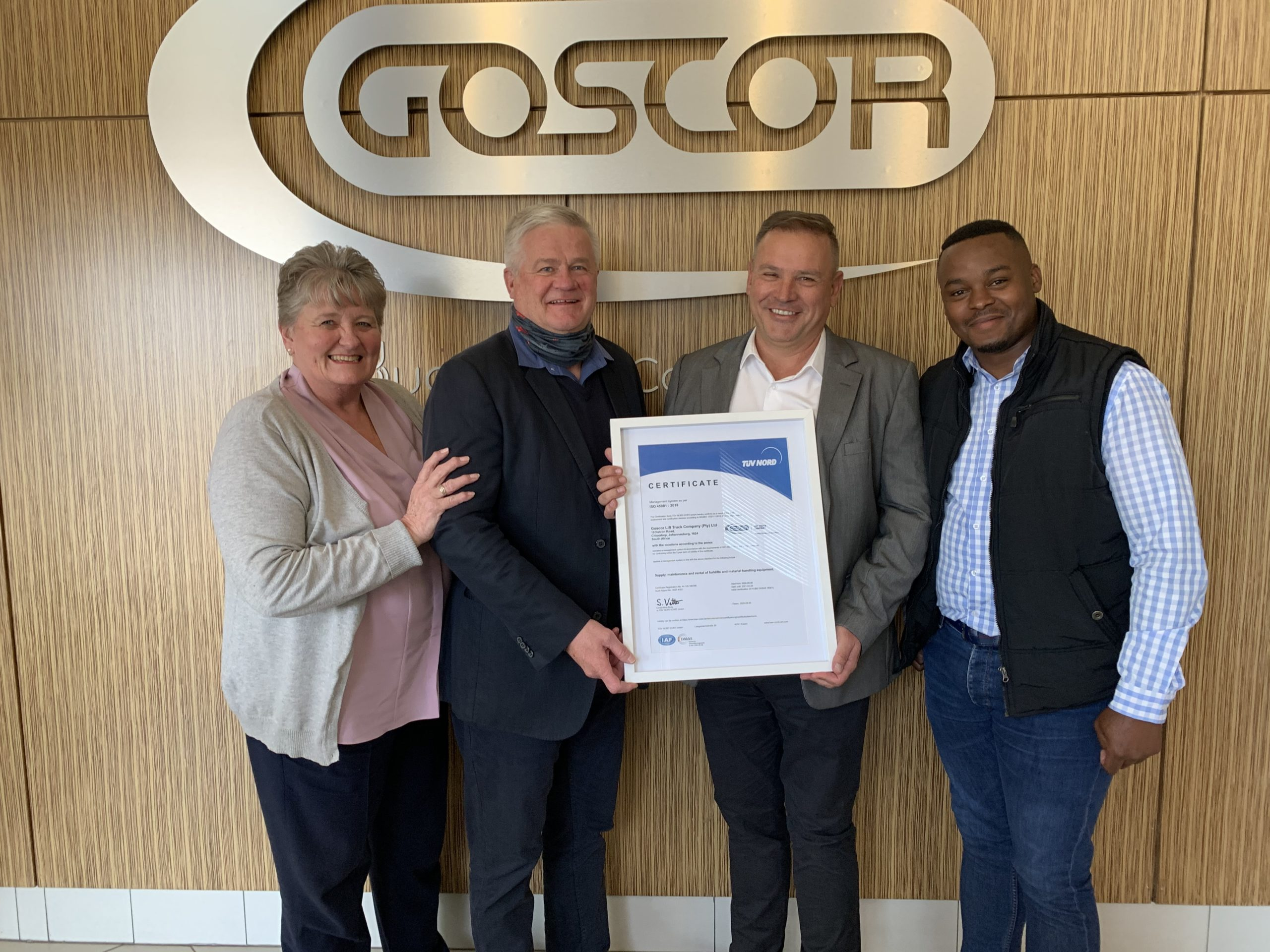 GLTC attains ISO 45001 certification.  From left Heather Morgan, Anthony Fouché, Cecil Oates and Thando Khumalo